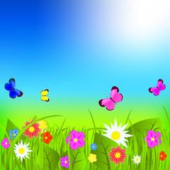 Zelfklevend Fotobehang Vlinders Natural floral background vector illustration