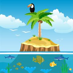 Poster de jardin Oiseaux, Abeilles Desert island and undersea world