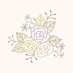 Floral bouquet. Vector background with roses.