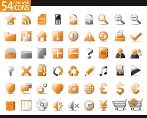 Set of 54 orange Web Icons for your internet sites