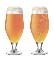 White beer in glass with drops