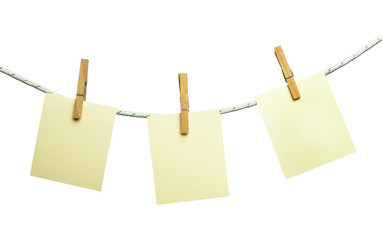 Note papers hooked on a rope