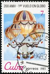 "stamp printed in Cuba shows Eugene Godard's quintuple ""acrobatic"