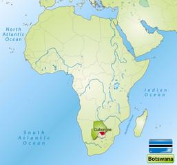 Übersichtskarte von Botswana mit Landesflagge