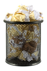 Waste bin with crumpled paper
