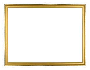 gold wood  picture frame on white background