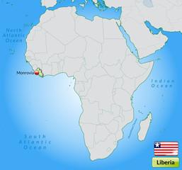 Übersichtskarte von Liberia mit Landesflagge
