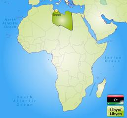 Übersichtskarte von Libyen mit Landesflagge
