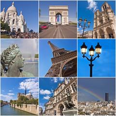 Collage monuments de Paris, France