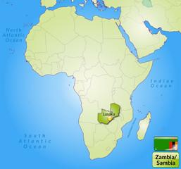 Übersichtskarte von Sambia mit Landesflagge