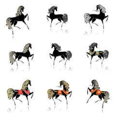 collection of beautiful decorative horses for your design