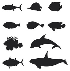 Sets of silhouette Fishes 2