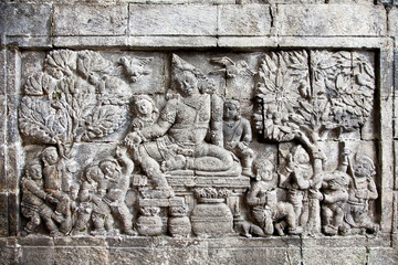 Detail of carved relief at Borobudur , Java, Indonesia.