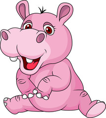 Cute hippo cartoon sitting