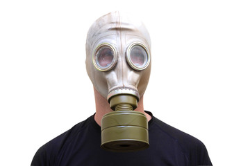 Man with old style gas mask isolated on white background, front