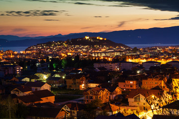 Night view of the city of Ohrid and the Samuil's fortress, Maced