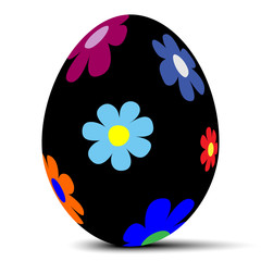 Easter egg with colorful flowers