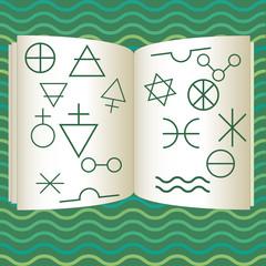 Book illustration with alchemy symbols