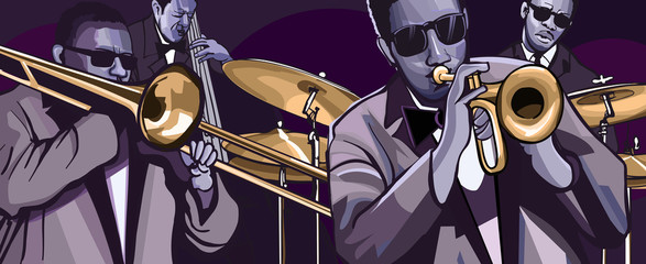 Wall Murals Art Studio jazz band with trombonne trumpet double bass and drum