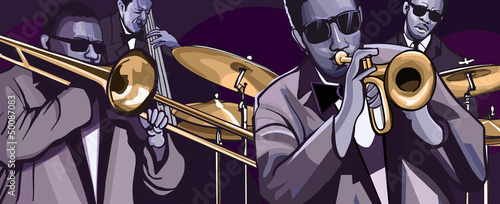 Wall mural jazz band with trombonne trumpet double bass and drum