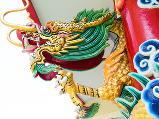 Colorful chinese dragon statue