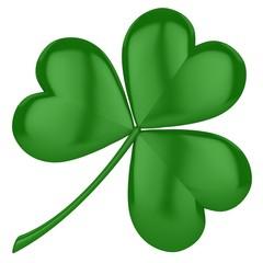 Saint Patrick's Day 3d clover sign over white