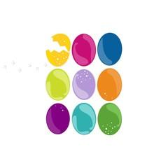 kolorowe pisanki w rzędach Wielkanocna ilustracja