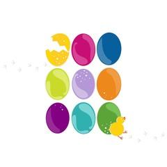 kolorowe pisanki z kurczaczkiem Wielkanocna ilustracja