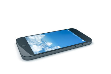 mobile phone with a blue sky