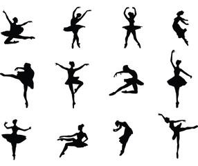 Ballerina dancing postures silhouette vector