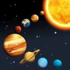 Tuinposter Kosmos The solar system - milky way - astronomy for kids