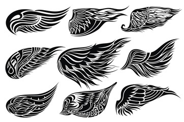 Set sketches of wings.Tattoo design