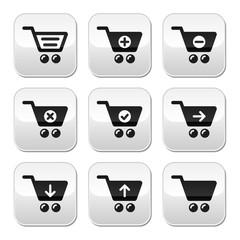 Shopping cart vector buttons set