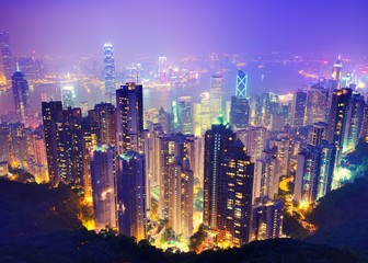 Deurstickers Hong-Kong Hong Kong at Night
