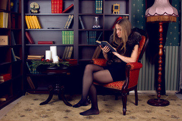 girl in the home library