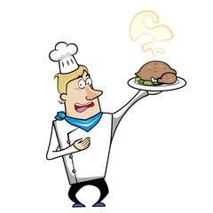 Cartoon Chef with Roast Turkey