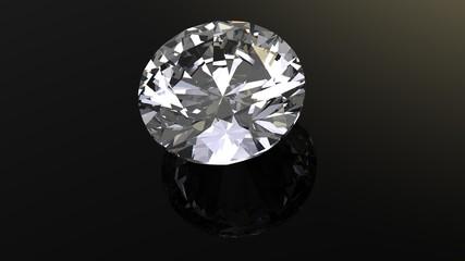 Diamond. Jewelry gems roung shape on black background