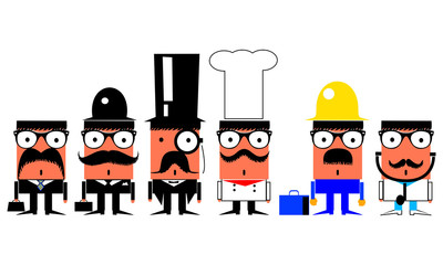 Jobs and professions cartoon characters set
