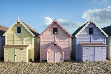 Colorful Beach Huts at West Mersea, Essex, UK
