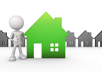 3D Minimalistic Person - Pointing At A House Symbol
