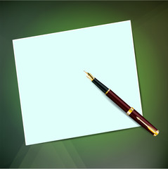 A sheet of paper with a pen with
