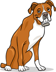 Tuinposter Honden boxer purebred dog cartoon illustration