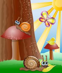 Photo sur Plexiglas Monde magique Cute picture with snails. Illustration 10 version