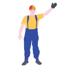 cheerful builder waving