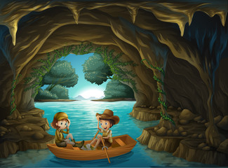 Foto op Plexiglas Rivier, meer A cave with two kids riding in a wooden boat