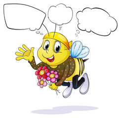 A bee with flowers thinking