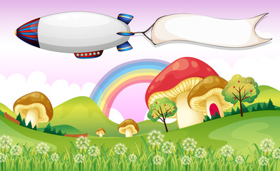 Canvas Prints Magic world A blimp carrying an empty banner
