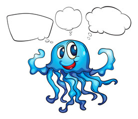 A blue octopus thinking