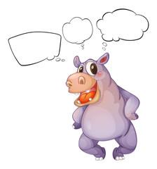 A hippopotamus thinking
