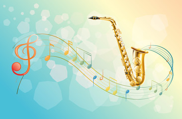 A saxophone and the musical symbols